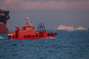 The local pilot boat and one of Finnlines' Star Class-ro/pax-ferries.