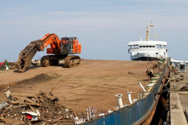 The ro/ro-ship CLARE stripped down the its main deck. In the background the former CALMAC ferry JUPITER awaits the same procedure.