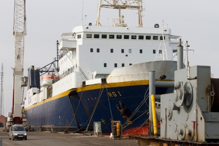 A ro/pax ferry in for recycling at Fornæs